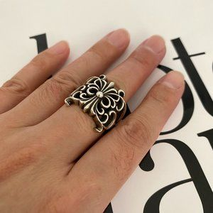 100%Authentic Chrome Hearts BUTTERFLY FLORAL CROSS RING